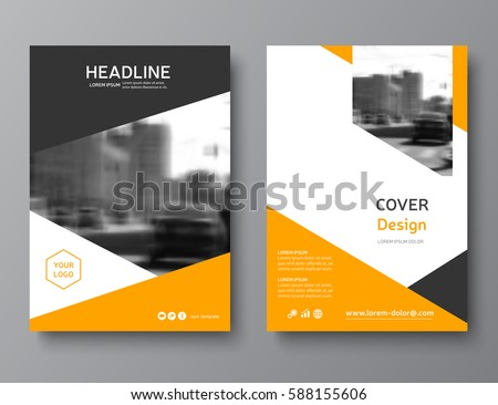 Yellow annual report brochure flyer design stock vector for Brochure cover designs
