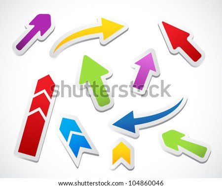 Color arrows stickers collection - stock vector