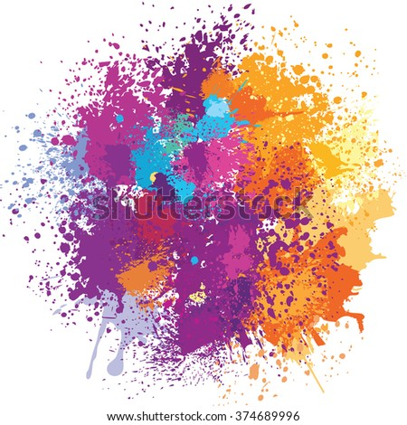 Color background of paint splashes - stock vector