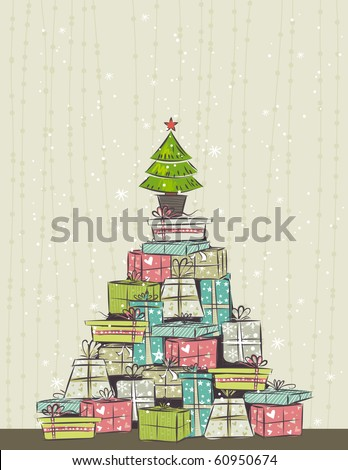 color background with christmas present and one tree,  vector illustration - stock vector