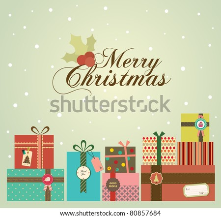 Color Background with Christmas Presents in Retro Style.
