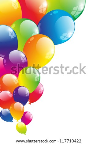 Color background with glossy balloon - stock vector