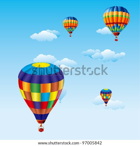 color balloons flying over clouds in sky - stock vector