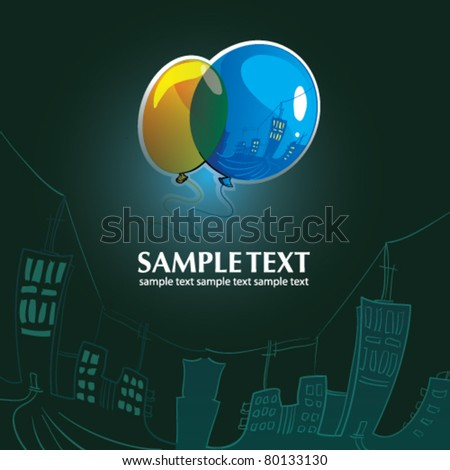 Color balloons in the sky over a night city - stock vector