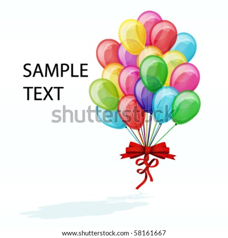 color balloons isolated on white - stock vector