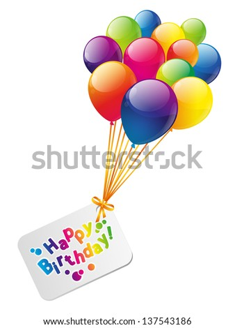 Color balloons with birthday card - stock vector