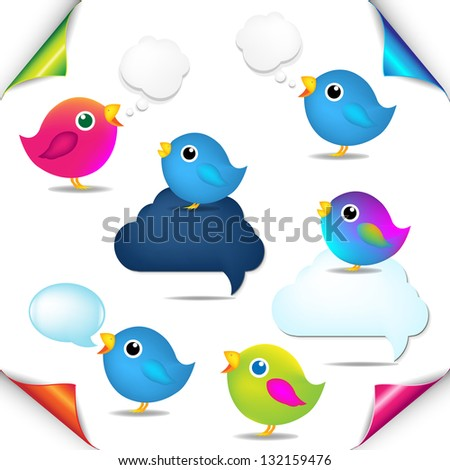 Color Birds Set With Corners And Speech Bubble With Gradient Mesh, Isolated On White Background, Vector Illustration - stock vector