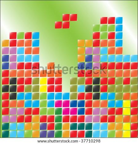 color blocks, tetris, cube - stock vector