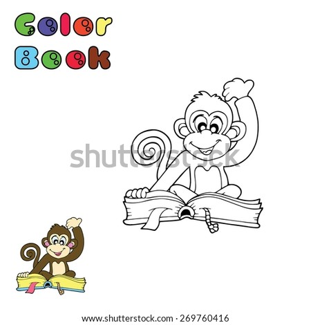Color book - Monkey - stock vector