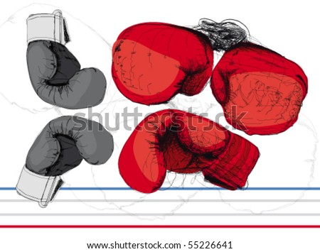 Color boxing gloves. - stock vector