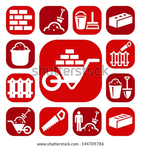 Color Bricklayer Icons Set Created For Mobile, Web And Applications. - stock vector