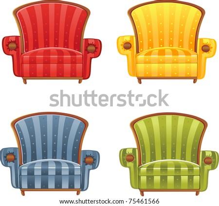 Color  bright vector armchair - stock vector