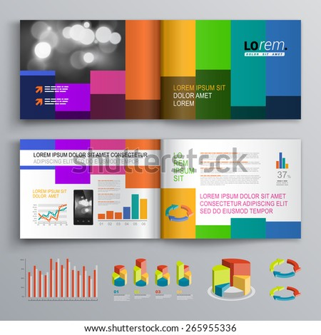 Color brochure template design with vertical square shapes. Cover layout and infographics - stock vector