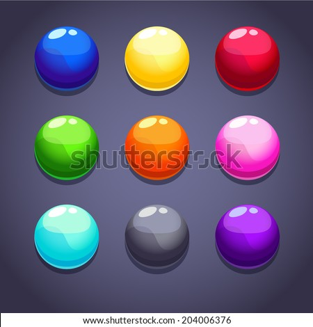 Color bubbles\balls set on the dark background, isolated vector - stock vector