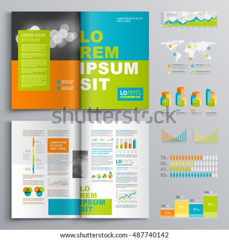 Color business brochure template design with green, blue and orange square elements. Cover layout and infographics