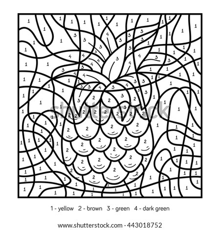 Color By Number Education Game For Children Coloring Page Fruits And Vegetables