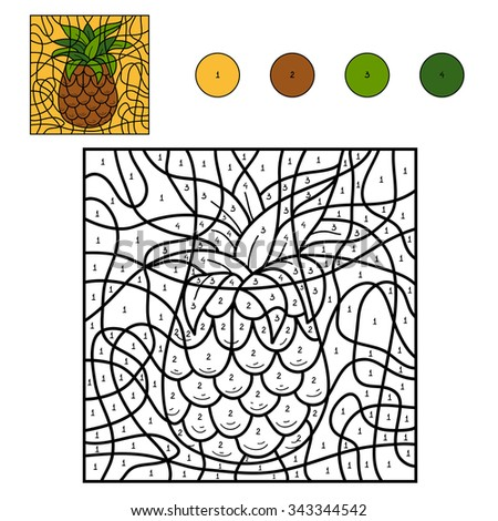 Color by number, education game for children: fruits and vegetables (pineapple) - stock vector