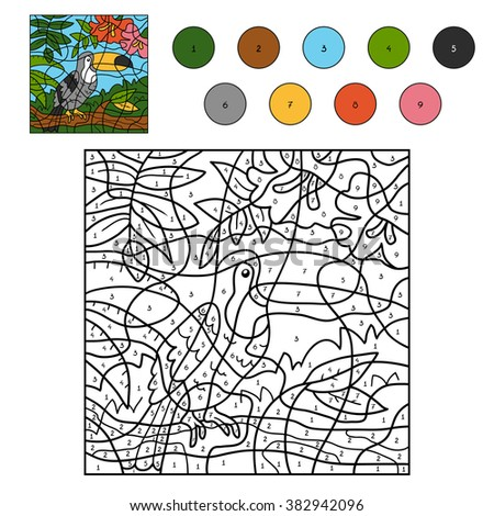 Color by number, education game for children (toucan) - stock vector