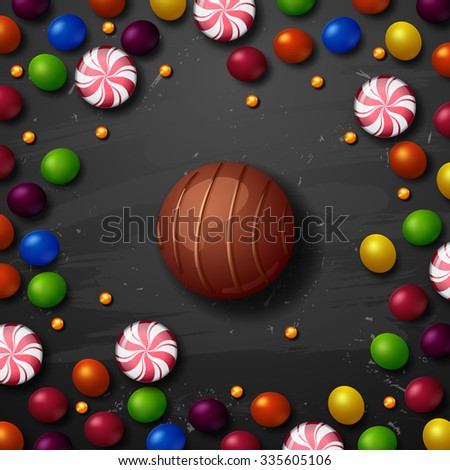 Color candy vector background. chocolate candies - stock vector