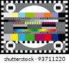 Color card. Test TV screen, animated television test. - stock vector