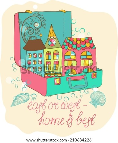 Color cartoon home in suitcase, beautiful illustration, VECTOR - stock vector