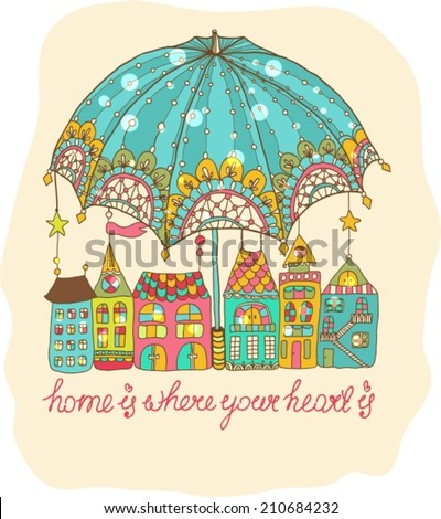 Color cartoon houses under umbrella, cute illustration, VECTOR - stock vector