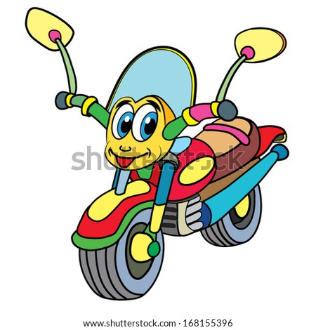 color cartoon of merry motor cycle;