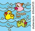 color cartoon rubber ducks in water - stock vector
