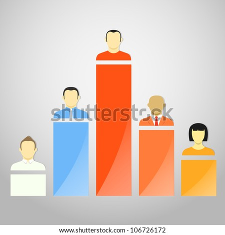 Color chart columns with account avatars - stock vector