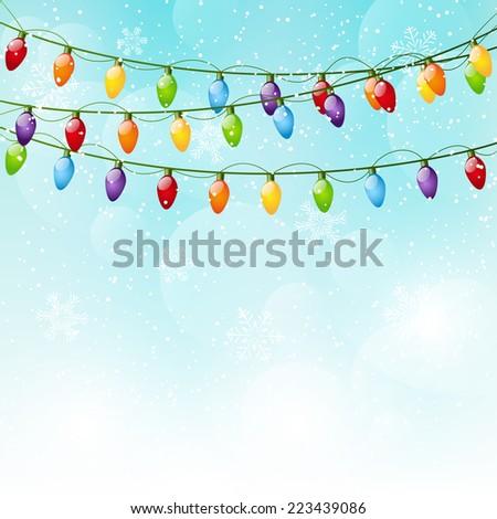 Color Christmas light bulbs on sky background - stock vector