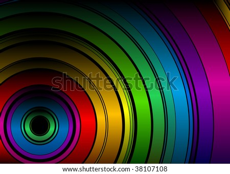 Color circle as rainbow on black background. - stock vector