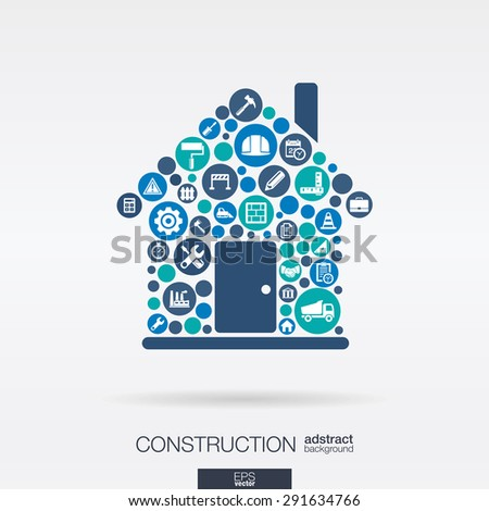 Color circles, flat icons in a house shape: construction, build, industry, architectural, engineering concept. Abstract background with connected objects in integrated group. Vector illustration - stock vector