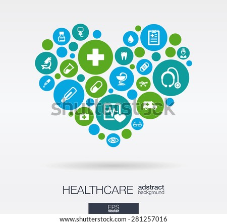 Color circles with flat icons in a heart shape: medicine, medical, health, cross, healthcare concepts. Abstract background with connected objects in integrated group of elements. Vector illustration. - stock vector