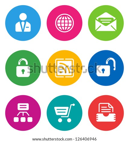 color circular web icons isolated on white background/ web buttons - stock vector