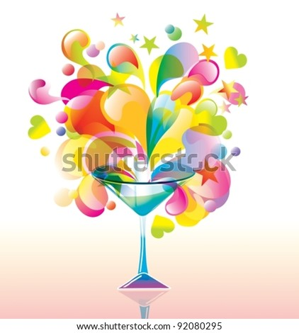 Color cocktail with great splash, vector - stock vector