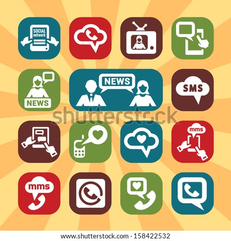 Color Communication Icons Set for web and mobile. - stock vector