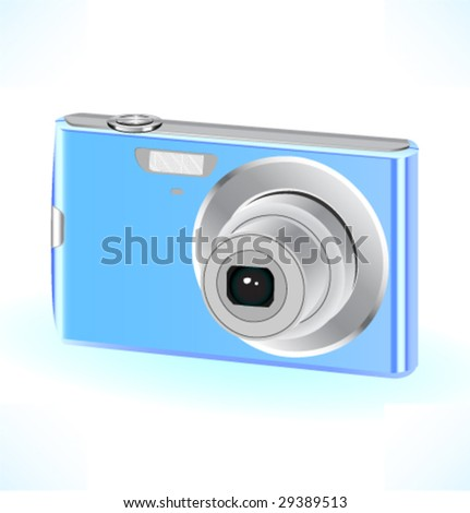 Color compact camera. Vector illustration.