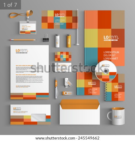 Color corporate identity template design with square elements. Business stationery - stock vector
