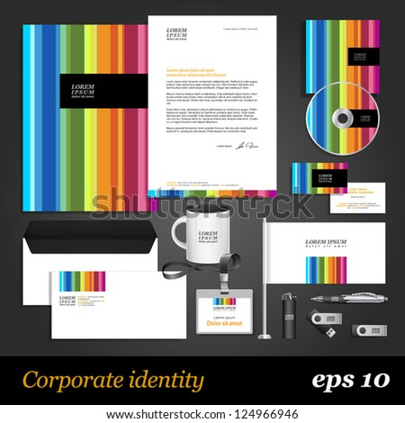 Color corporate identity template. Vector company style for brandbook and guideline. EPS 10