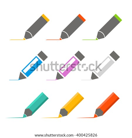 Color crayons and markers icons vector set - stock vector