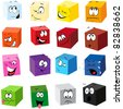 color cubes with many expressions - stock vector