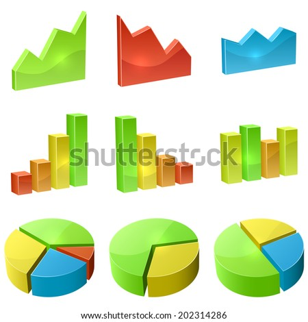 Color 3D graph icon vector set isolated on white background. - stock vector