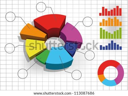 color 3d  pie chart graph. vector illustration. - stock vector