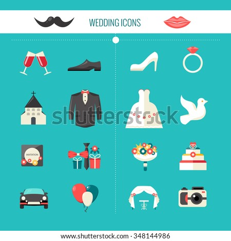 Color decorative wedding icons witn clothes of bride and groom festive civil accessories and church isolated vector illustration - stock vector