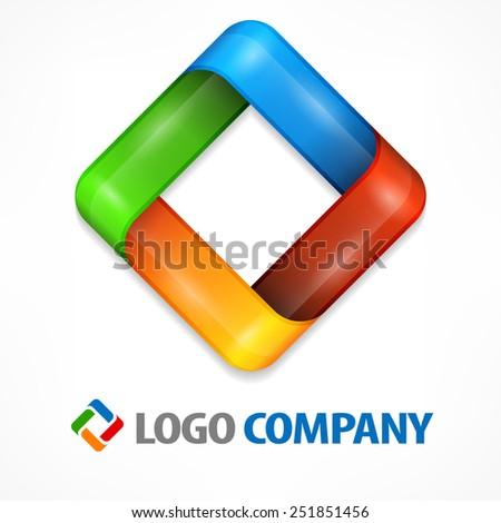 Color design element, geometric symbol square on white, vector illustration - stock vector