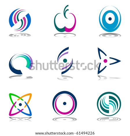 Color design elements. Abstract icons. Vector set. - stock vector