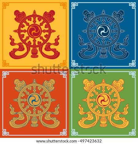 Color Dharma Wheel Dharmachakra Icons Symbols Stock Vector Royalty