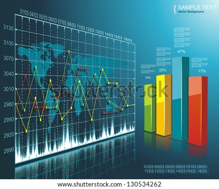 Color Diagram on the digital technology background - stock vector