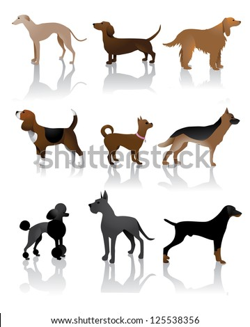 Color Dog Icons Symbols EPS 8 vector, no open shapes or paths, grouped for easy editing. - stock vector