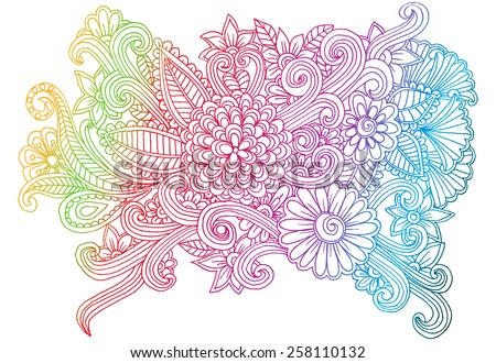 Color doodle flowers - stock vector